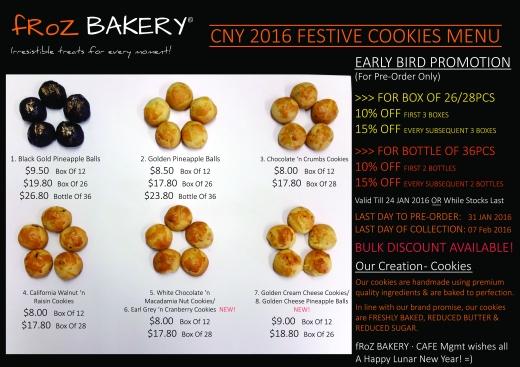 fRoZ BAKERY CNY 2016 Festive Cookies Menu