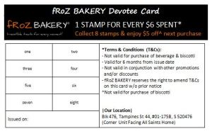 fRoZ BAKERY Devotee Card - Pastries (WEF 010414)