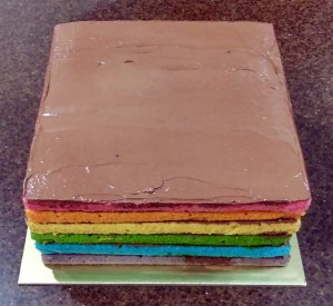 Rainbow Layer Cake with Dark Chocolate Frosting - Whole
